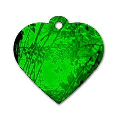 Leaf Outline Abstract Dog Tag Heart (one Side) by Simbadda