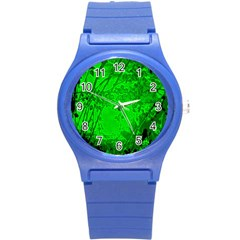 Leaf Outline Abstract Round Plastic Sport Watch (s) by Simbadda