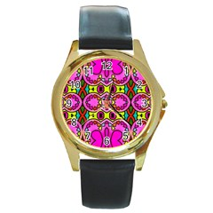 Colourful Abstract Background Design Pattern Round Gold Metal Watch by Simbadda