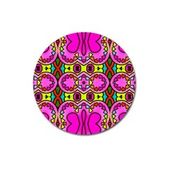 Colourful Abstract Background Design Pattern Magnet 3  (round) by Simbadda