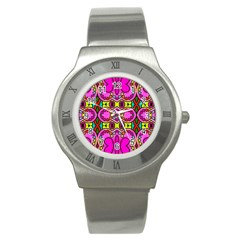Colourful Abstract Background Design Pattern Stainless Steel Watch by Simbadda