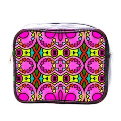 Colourful Abstract Background Design Pattern Mini Toiletries Bags by Simbadda