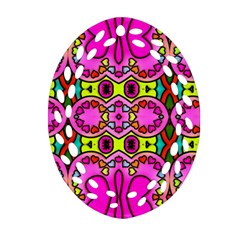 Colourful Abstract Background Design Pattern Oval Filigree Ornament (two Sides) by Simbadda