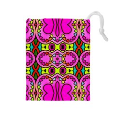 Colourful Abstract Background Design Pattern Drawstring Pouches (large)  by Simbadda