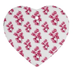 Santa Rita Flowers Pattern Heart Ornament (two Sides) by dflcprints
