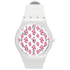 Santa Rita Flowers Pattern Round Plastic Sport Watch (m) by dflcprints