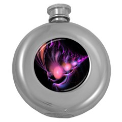 Fractal Image Of Pink Balls Whooshing Into The Distance Round Hip Flask (5 Oz) by Simbadda