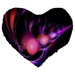 Fractal Image Of Pink Balls Whooshing Into The Distance Large 19  Premium Flano Heart Shape Cushions by Simbadda