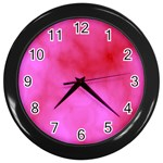 Pink Clouds Wall Clock (Black)