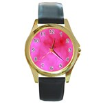Pink Clouds Round Gold Metal Watch