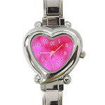 Pink Clouds Heart Italian Charm Watch