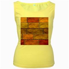 Classic Color Bricks Gradient Wall Women s Yellow Tank Top