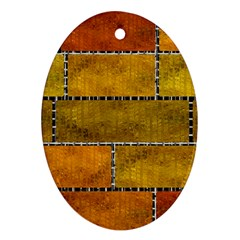 Classic Color Bricks Gradient Wall Oval Ornament (two Sides) by Simbadda