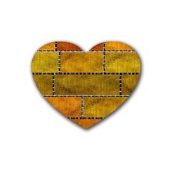 Classic Color Bricks Gradient Wall Rubber Coaster (heart)  by Simbadda