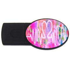 Watercolour Heartbeat Monitor Usb Flash Drive Oval (4 Gb) by Simbadda