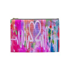 Watercolour Heartbeat Monitor Cosmetic Bag (medium)  by Simbadda