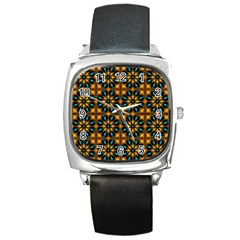 Abstract Daisies Square Metal Watch by Simbadda