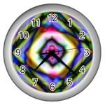 Rippled Geometry  Wall Clock (Silver)