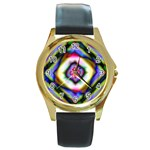 Rippled Geometry  Round Gold Metal Watch