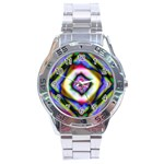 Rippled Geometry  Stainless Steel Analogue Watch
