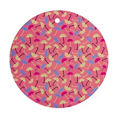 Umbrella Seamless Pattern Pink Ornament (round)