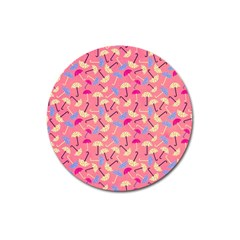 Umbrella Seamless Pattern Pink Magnet 3  (round) by Simbadda