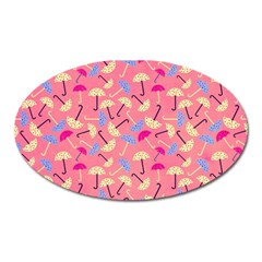 Umbrella Seamless Pattern Pink Oval Magnet by Simbadda