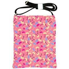 Umbrella Seamless Pattern Pink Shoulder Sling Bags by Simbadda