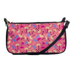 Umbrella Seamless Pattern Pink Shoulder Clutch Bags by Simbadda