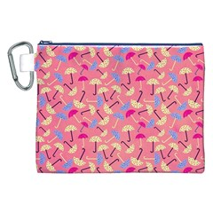 Umbrella Seamless Pattern Pink Canvas Cosmetic Bag (xxl) by Simbadda