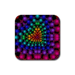 Mirror Fractal Balls On Black Background Rubber Square Coaster (4 Pack)  by Simbadda