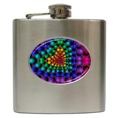 Mirror Fractal Balls On Black Background Hip Flask (6 Oz) by Simbadda
