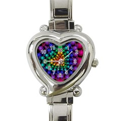 Mirror Fractal Balls On Black Background Heart Italian Charm Watch by Simbadda