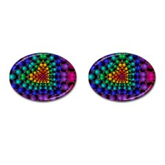 Mirror Fractal Balls On Black Background Cufflinks (oval) by Simbadda