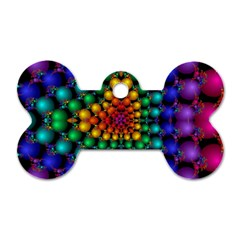 Mirror Fractal Balls On Black Background Dog Tag Bone (one Side) by Simbadda