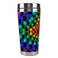 Mirror Fractal Balls On Black Background Stainless Steel Travel Tumblers by Simbadda