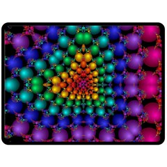 Mirror Fractal Balls On Black Background Double Sided Fleece Blanket (large)  by Simbadda