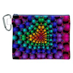 Mirror Fractal Balls On Black Background Canvas Cosmetic Bag (xxl) by Simbadda