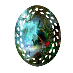 Beautiful Peacock Colorful Oval Filigree Ornament (two Sides) by Simbadda