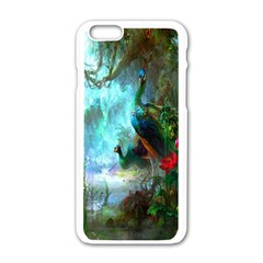 Beautiful Peacock Colorful Apple Iphone 6/6s White Enamel Case by Simbadda
