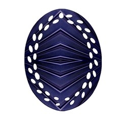 Blue Metal Abstract Alternative Version Oval Filigree Ornament (two Sides) by Simbadda