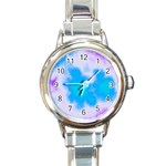 Blue And Purple Clouds Round Italian Charm Watch