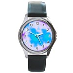 Blue And Purple Clouds Round Metal Watch