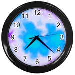 Blue And Purple Clouds Wall Clock (Black)