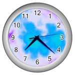 Blue And Purple Clouds Wall Clock (Silver)