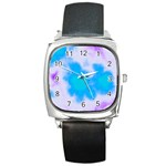 Blue And Purple Clouds Square Metal Watch