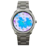 Blue And Purple Clouds Sport Metal Watch