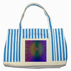 Blue Fractal That Looks Like A Starburst Striped Blue Tote Bag by Simbadda