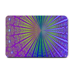 Blue Fractal That Looks Like A Starburst Small Doormat  by Simbadda