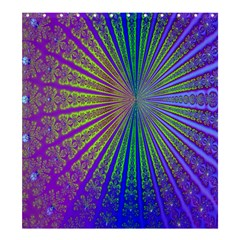 Blue Fractal That Looks Like A Starburst Shower Curtain 66  X 72  (large)  by Simbadda